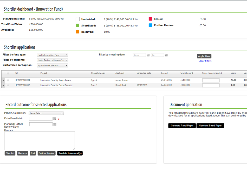 Flexi-Grant's® Shortlisting Tool